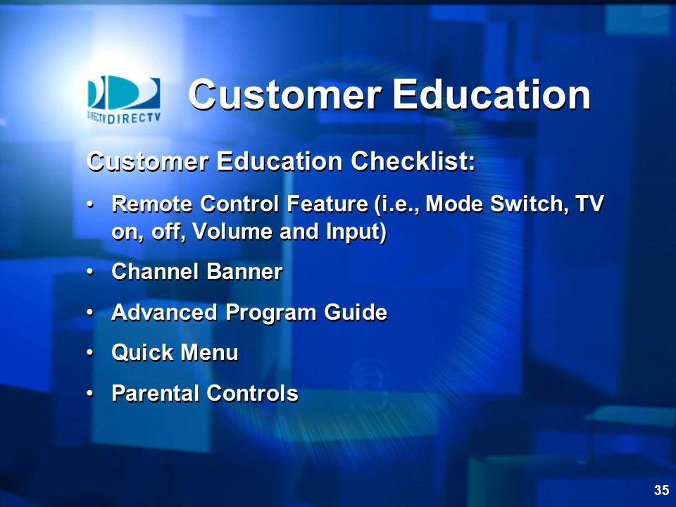 Customer Education Customer Education Checklist: