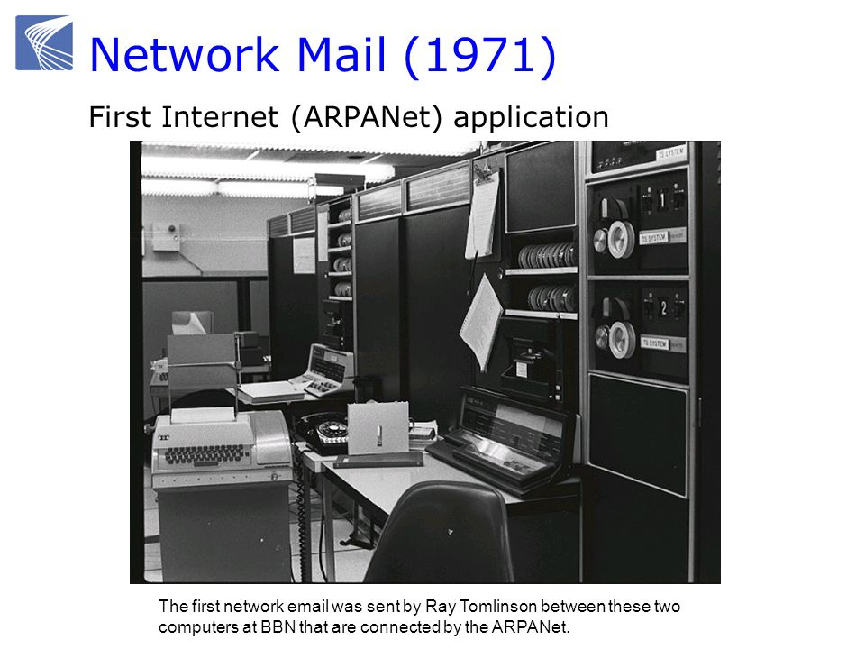 Network Mail (1971) First Internet (ARPANet) application