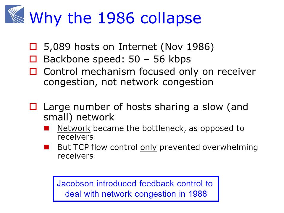 Why the 1986 collapse 5,089 hosts on Internet (Nov 1986)