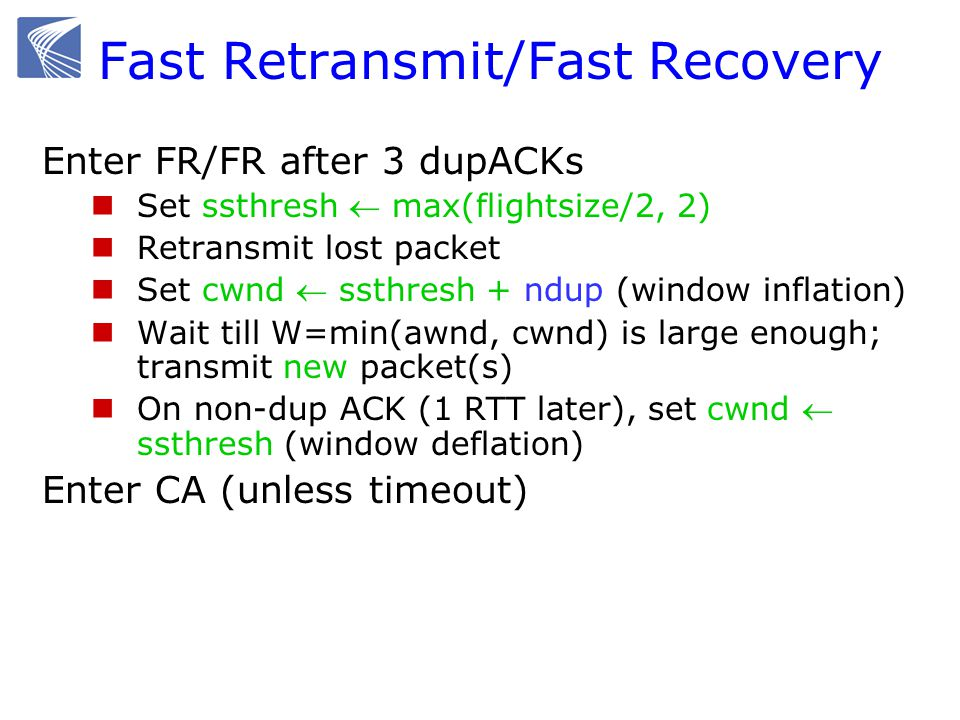 Fast Retransmit/Fast Recovery