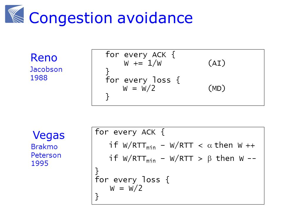 Congestion avoidance Reno Vegas for every ACK { W += 1/W (AI) }