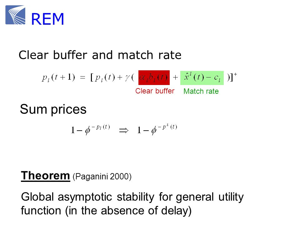 REM Sum prices Clear buffer and match rate Theorem (Paganini 2000)