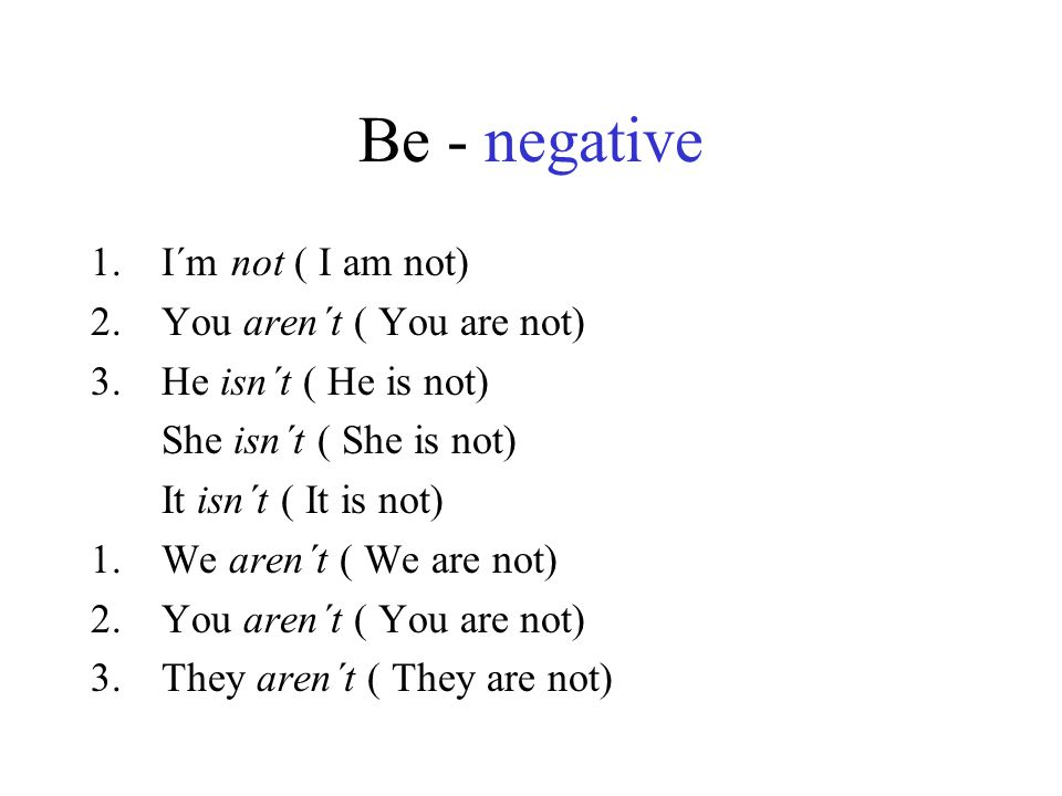 Be - negative I´m not ( I am not) You aren´t ( You are not)