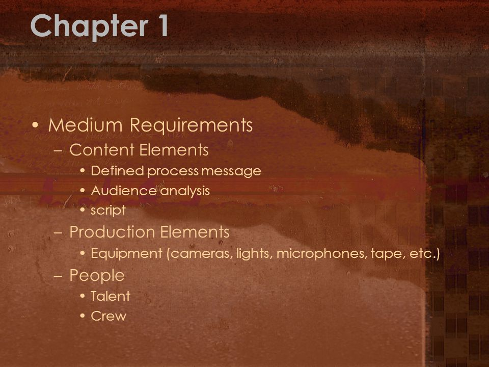 Chapter 1 Medium Requirements Content Elements Production Elements