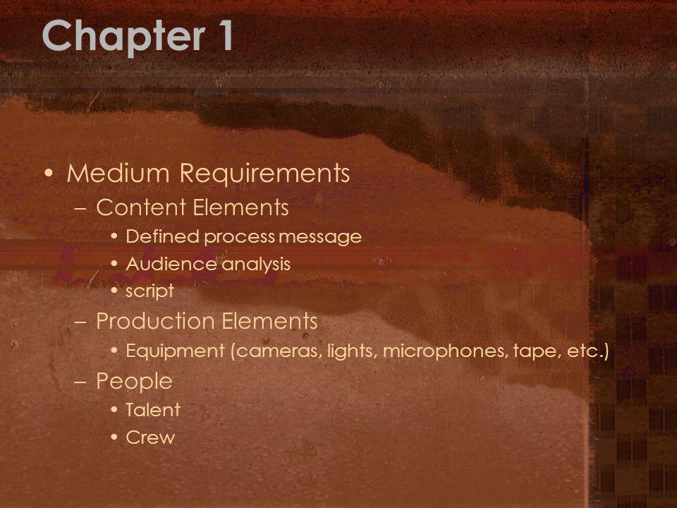 Chapter 1 Medium Requirements Content Elements Production Elements