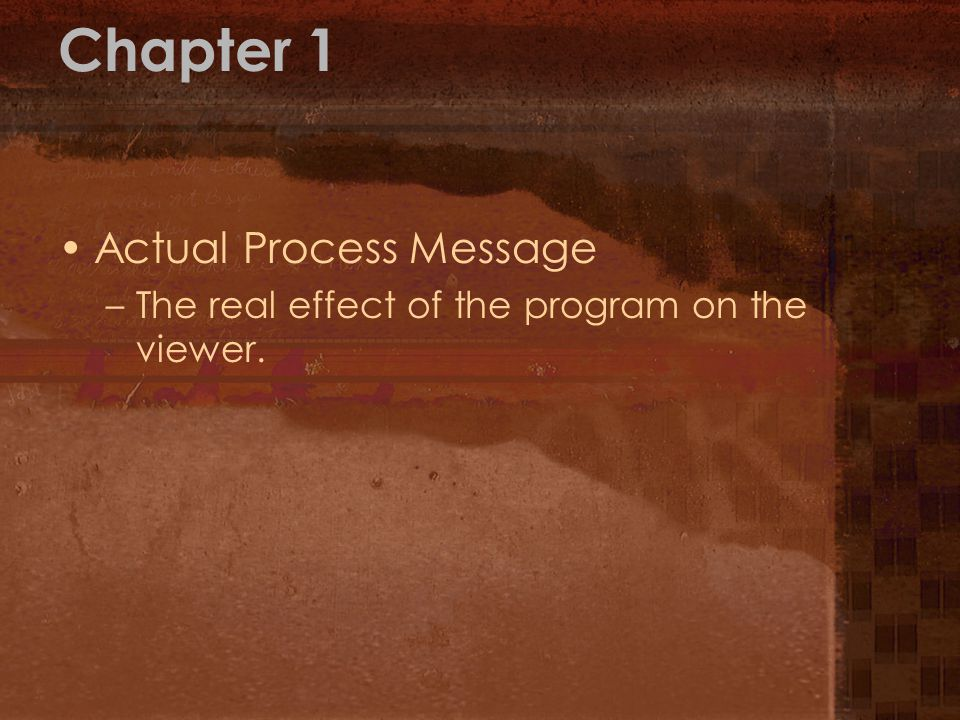 Chapter 1 Actual Process Message