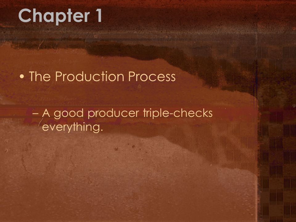 Chapter 1 The Production Process