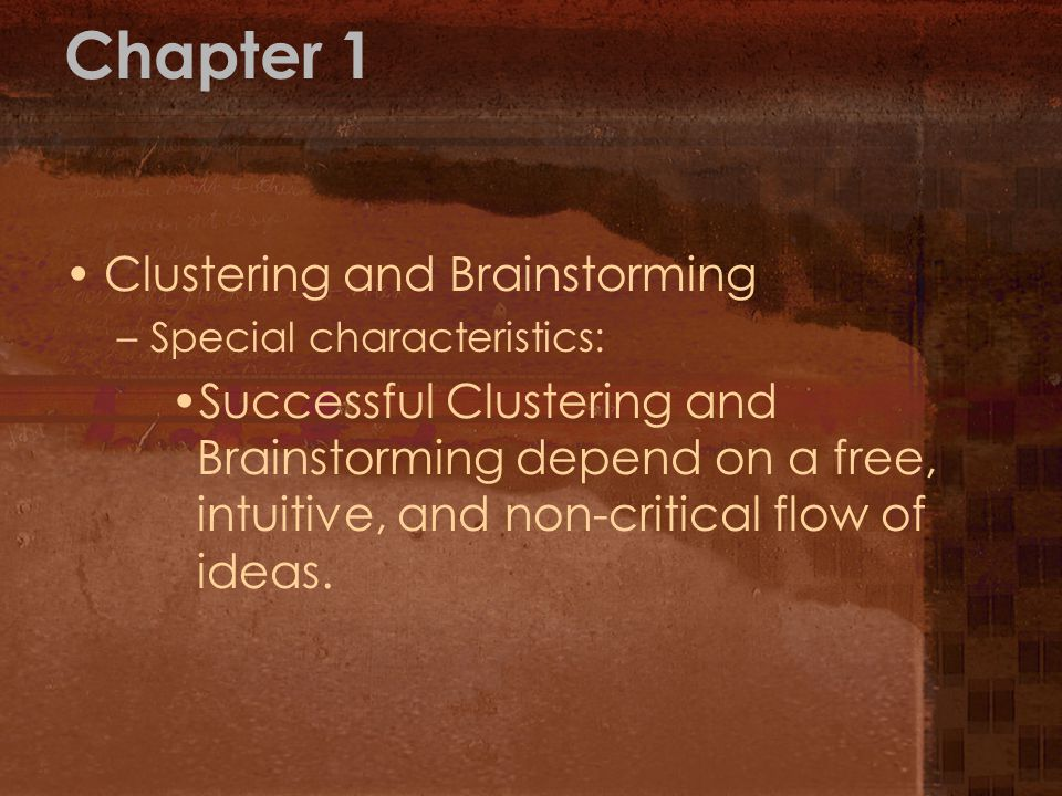 Chapter 1 Clustering and Brainstorming