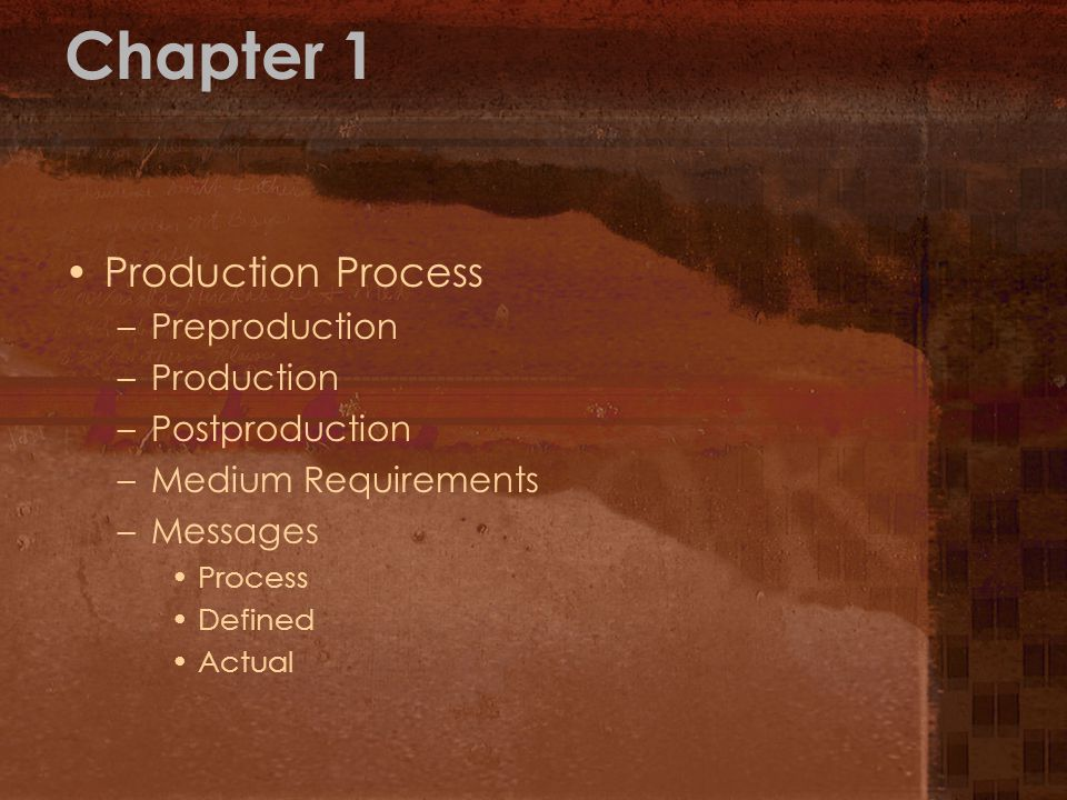Chapter 1 Production Process Preproduction Production Postproduction