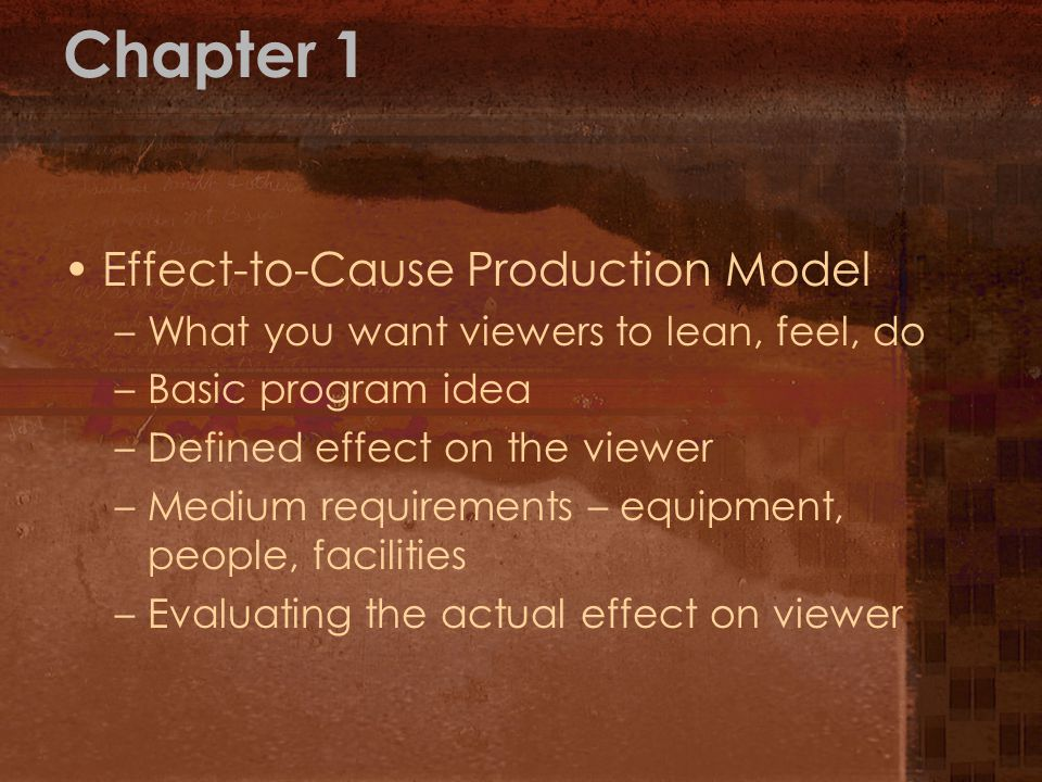 Chapter 1 Effect-to-Cause Production Model