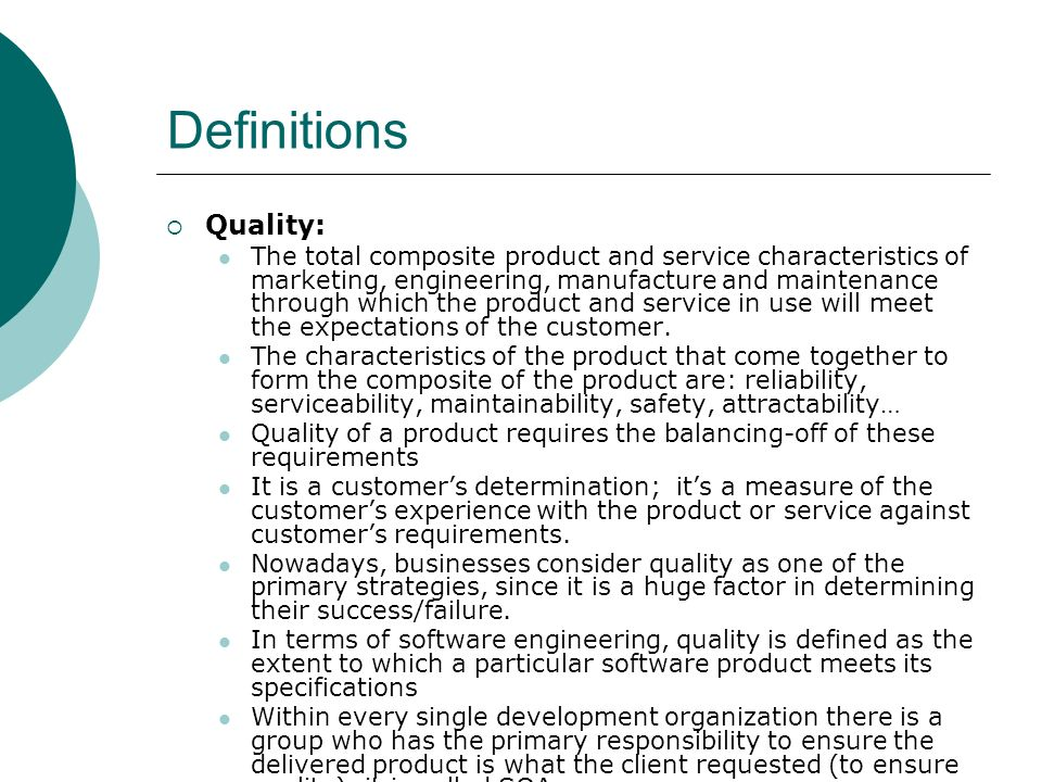 Definitions Quality: