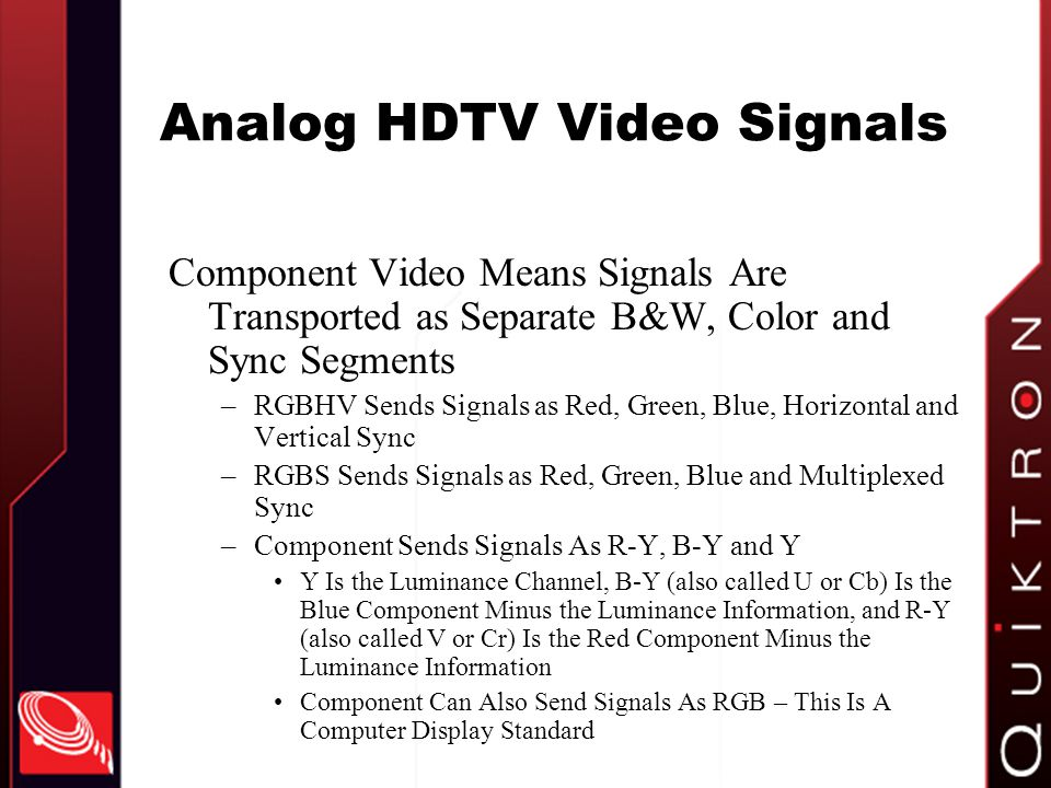 Analog HDTV Video Signals
