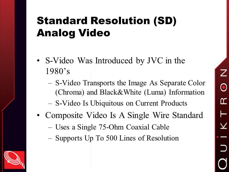 Standard Resolution (SD) Analog Video