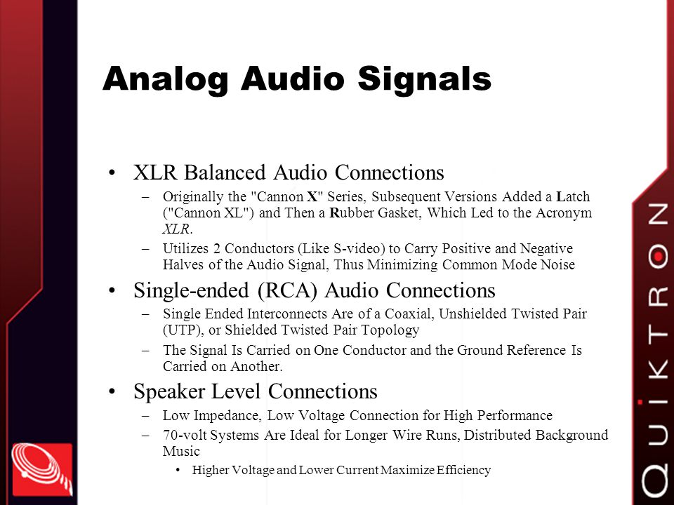 Analog Audio Signals XLR Balanced Audio Connections
