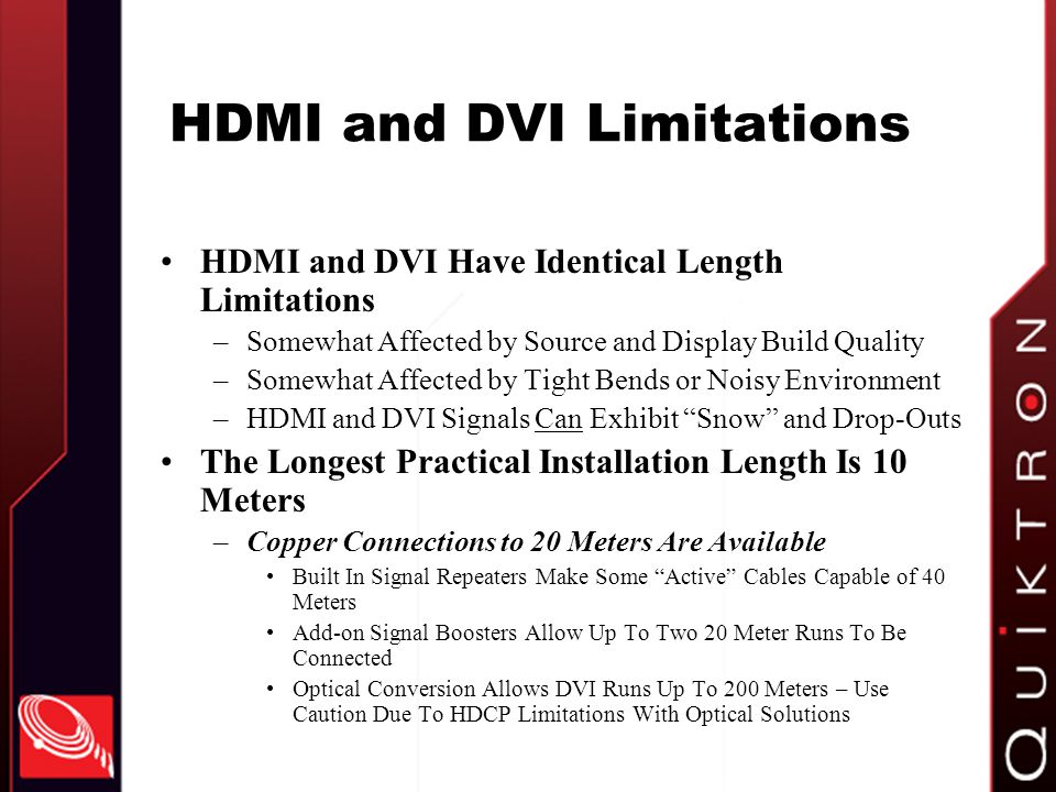 HDMI and DVI Limitations
