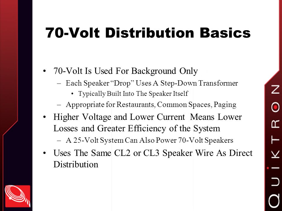 70-Volt Distribution Basics