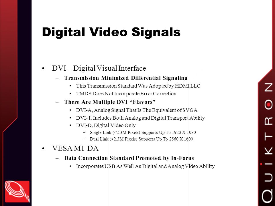 Digital Video Signals DVI – Digital Visual Interface VESA M1-DA