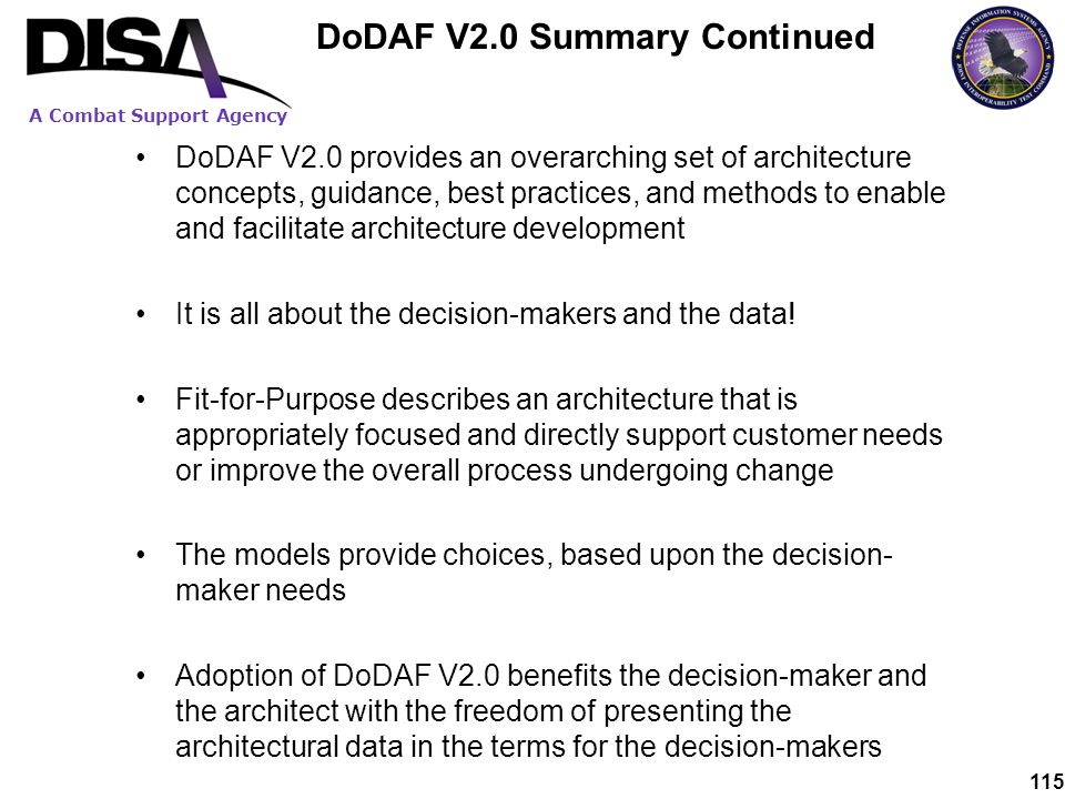 DoDAF V2.0 Summary Continued
