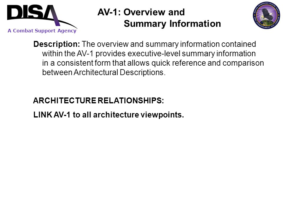 AV-1: Overview and Summary Information