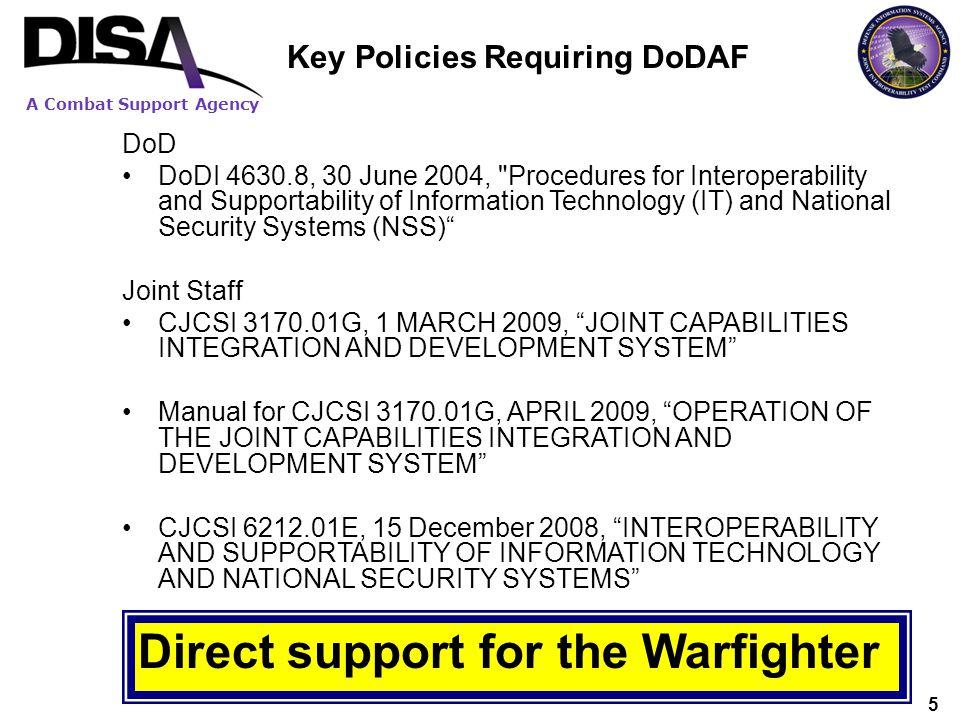 Key Policies Requiring DoDAF