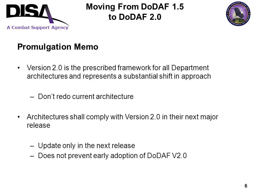 Moving From DoDAF 1.5 to DoDAF 2.0