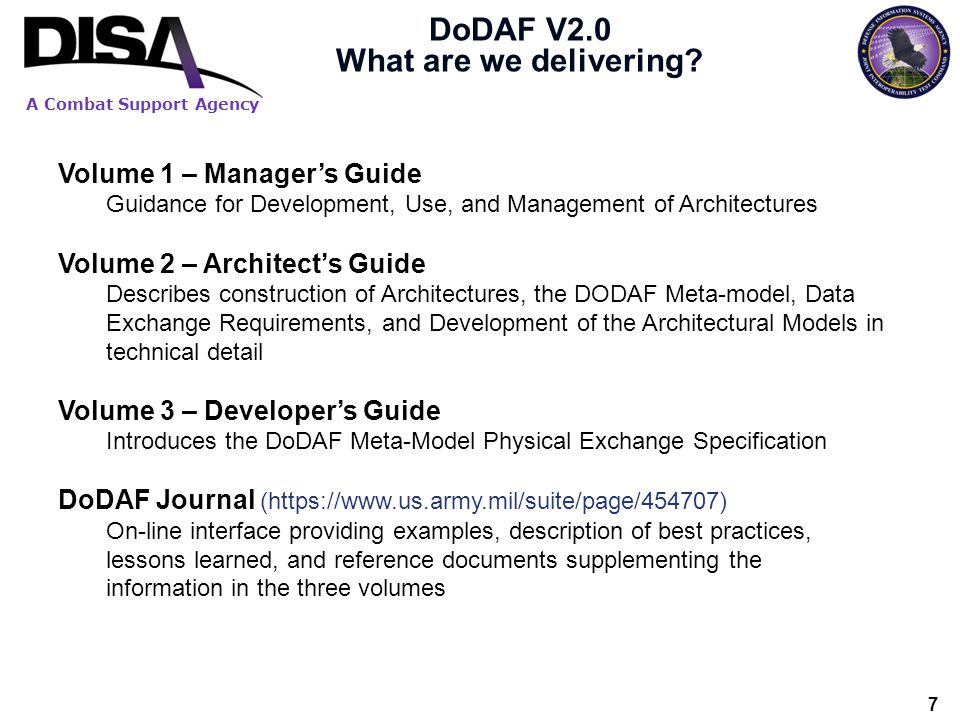 DoDAF V2.0 What are we delivering