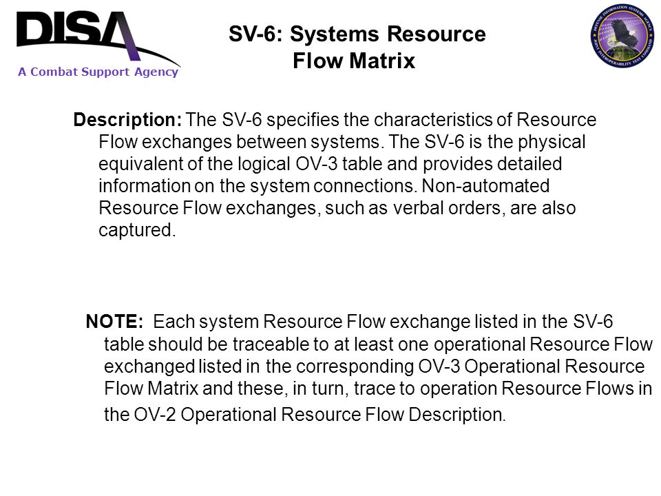 NOTE: Each system Resource Flow exchange listed in the SV-6