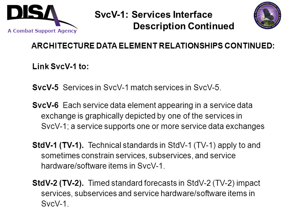 SvcV-1: Services Interface Description Continued