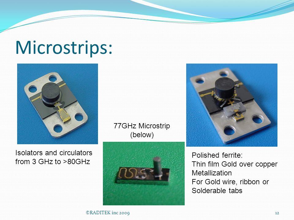 Microstrips: 77GHz Microstrip (below) Isolators and circulators