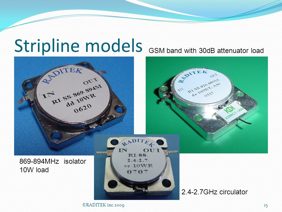 Stripline models GSM band with 30dB attenuator load