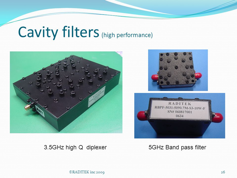 Cavity filters (high performance)