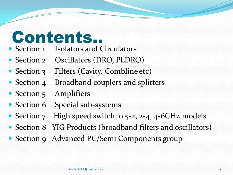 Contents.. Section 1 Isolators and Circulators