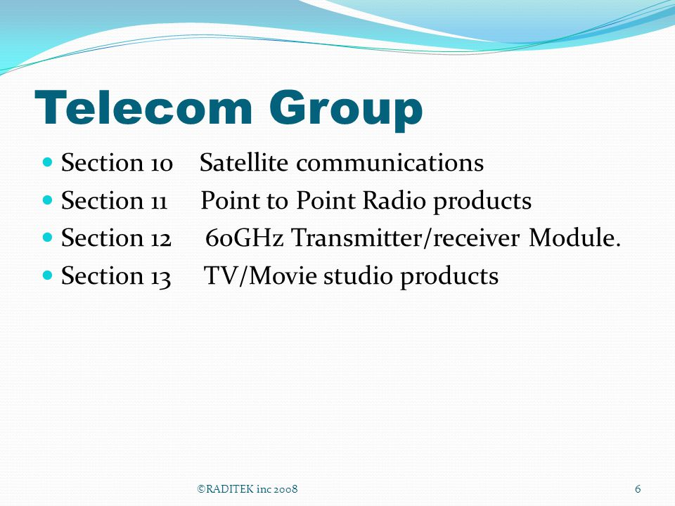 Telecom Group Section 10 Satellite communications