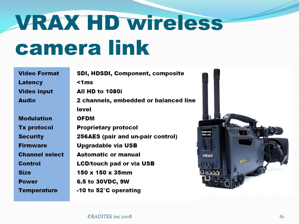 VRAX HD wireless camera link