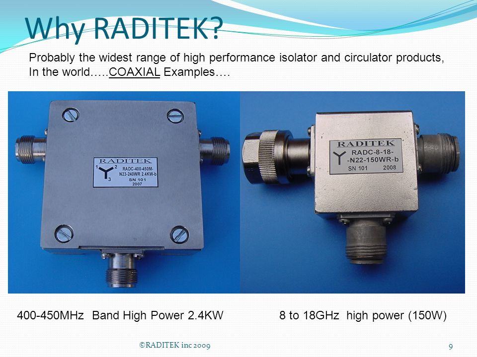 Why RADITEK Probably the widest range of high performance isolator and circulator products, In the world…..COAXIAL Examples….