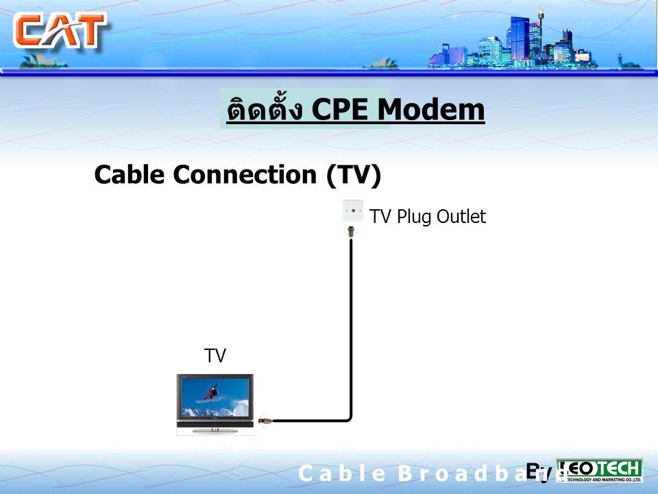 ติดตั้ง CPE Modem Cable Connection (TV) C a b l e B r o a d b a n d By