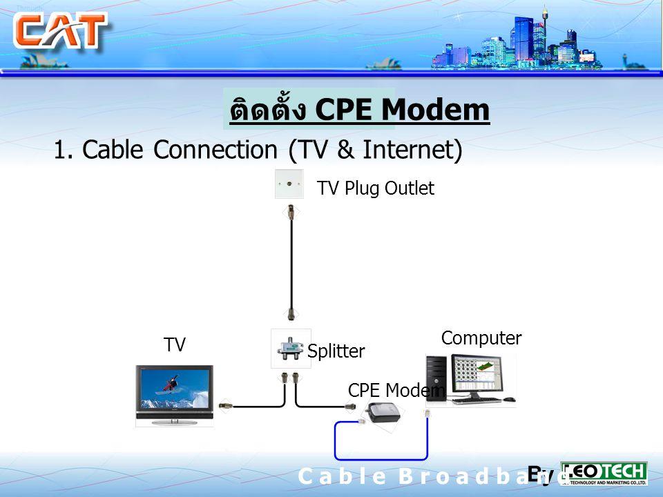 ติดตั้ง CPE Modem 1. Cable Connection (TV & Internet)