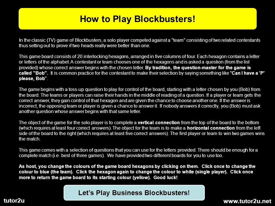 How to Play Blockbusters! Let's Play Business Blockbusters!