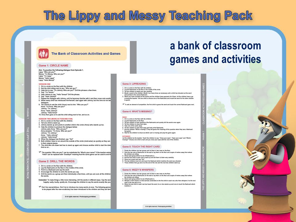 a bank of classroom games and activities
