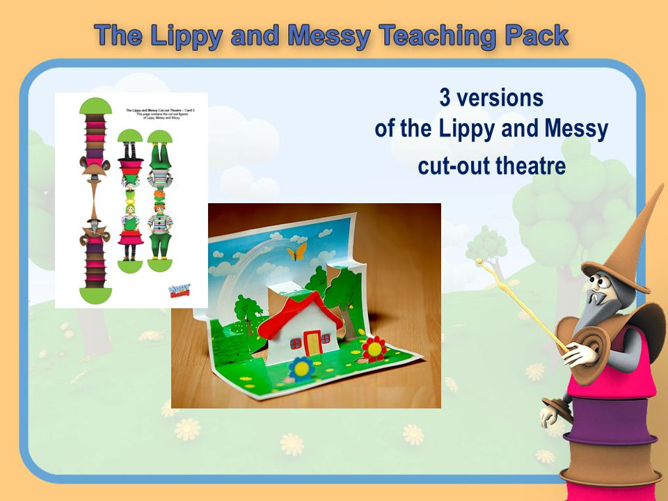 3 versions of the Lippy and Messy cut-out theatre