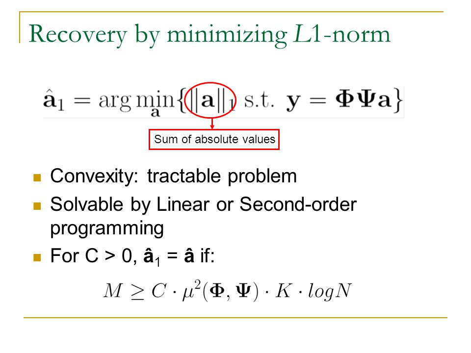 Recovery by minimizing L1-norm