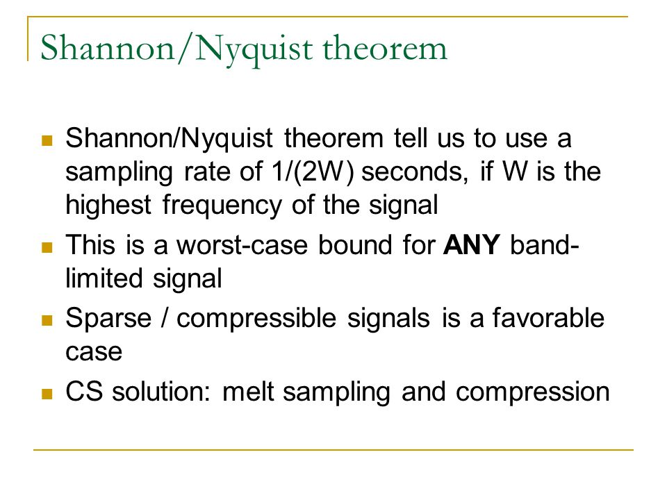 Shannon/Nyquist theorem