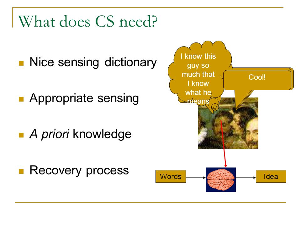 What does CS need Nice sensing dictionary Appropriate sensing