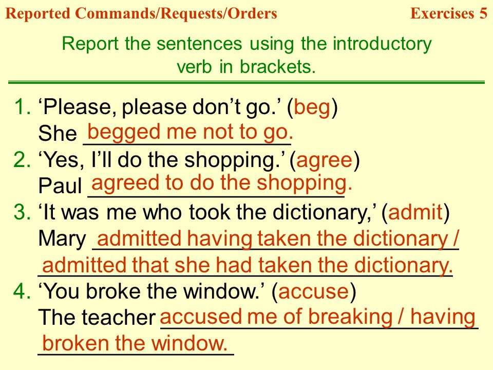 Report the sentences using the introductory