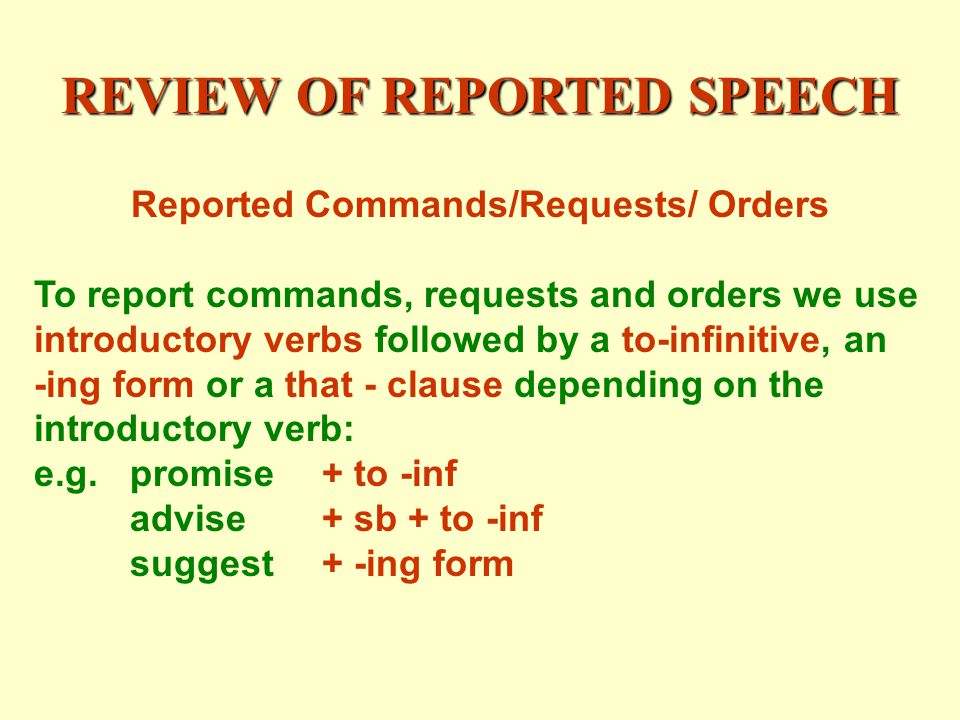 REVIEW OF REPORTED SPEECH Reported Commands/Requests/ Orders