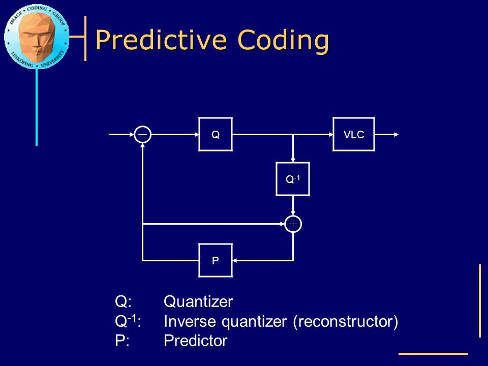 Predictive Coding Q VLC Q-1 P Q: Quantizer Q-1: Inverse quantizer (reconstructor) P: Predictor
