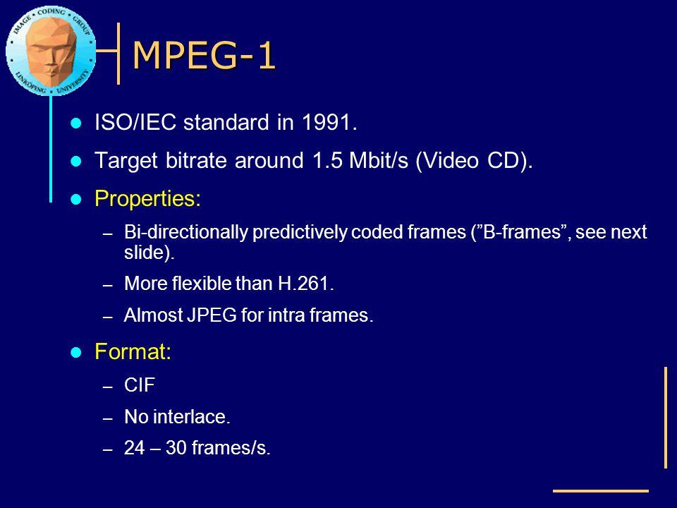 MPEG-1 ISO/IEC standard in 1991.