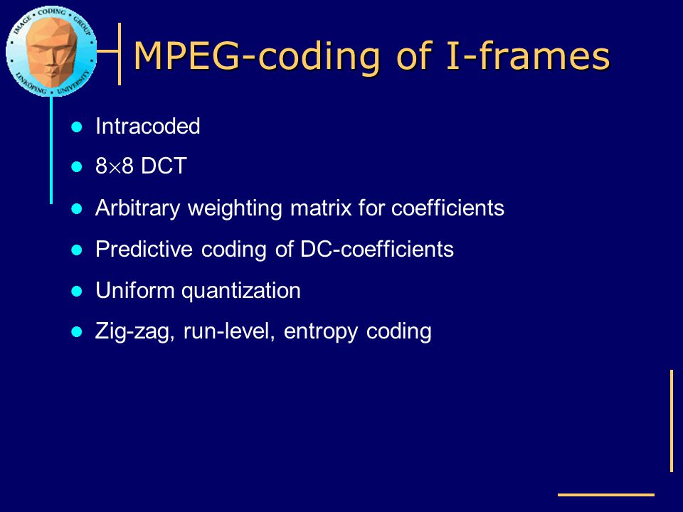 MPEG-coding of I-frames