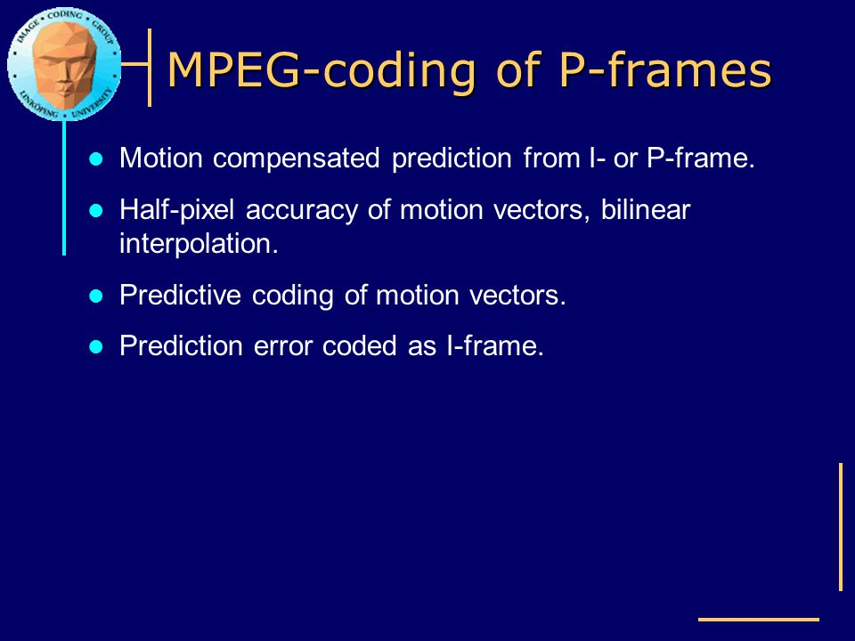 MPEG-coding of P-frames