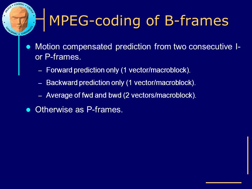 MPEG-coding of B-frames